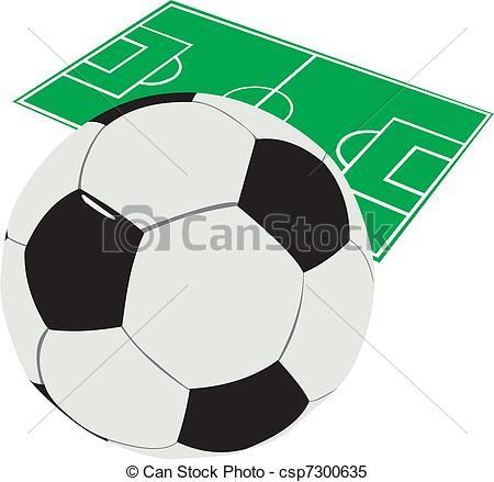 450x439 Soccer Ball Against The Mark Of A Football Field Clipart Vector