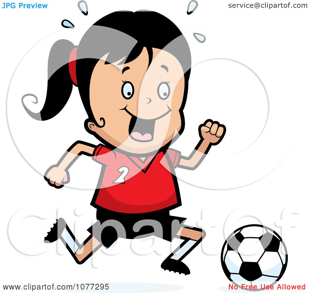 1080x1024 Clipart Soccer Girl Running After A Ball