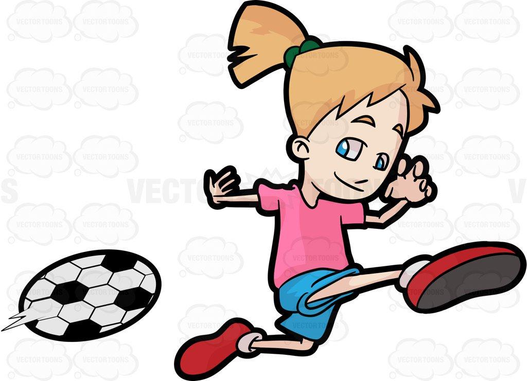 1024x741 A Happy Girl Kicking A Soccer Ball Cartoon Clipart Vector Toons