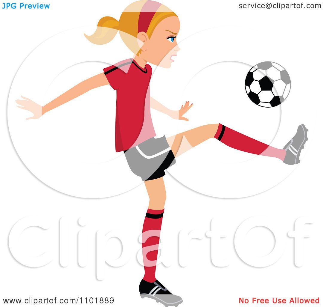 1080x1024 Clipart Blond Soccer Girl Player Kicking A Ball