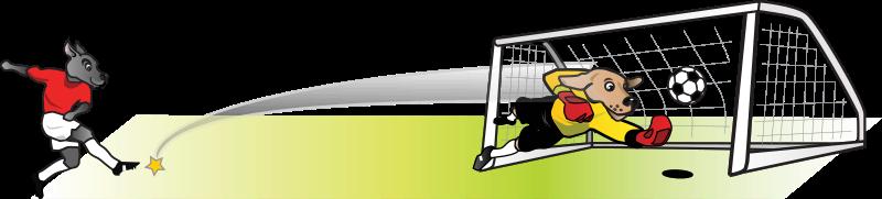 800x181 Free Clipart Soccer Dog Striker Kicking