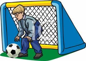 300x215 Clip Art Image A Boy Guarding The Soccer Goal