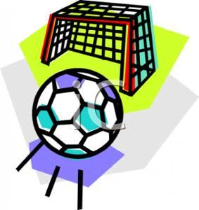 283x300 Clip Art Image A Soccer Ball Rolling Towards A Goal Net