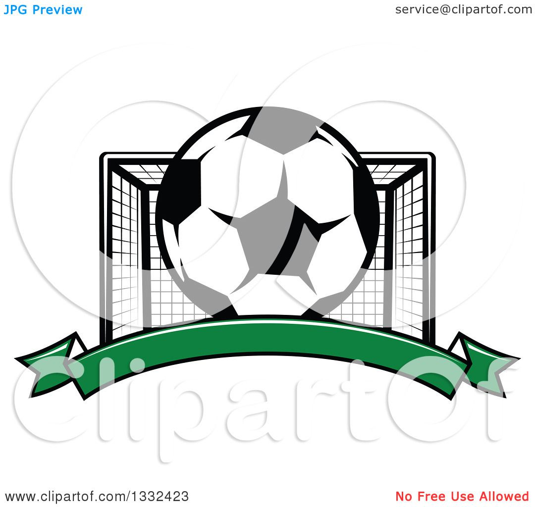 1080x1024 Clipart Of A Soccer Ball And Goal Net Over A Blank Green Banner