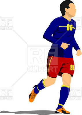 284x400 Silhouette Of Running Soccer Player Royalty Free Vector Clip Art