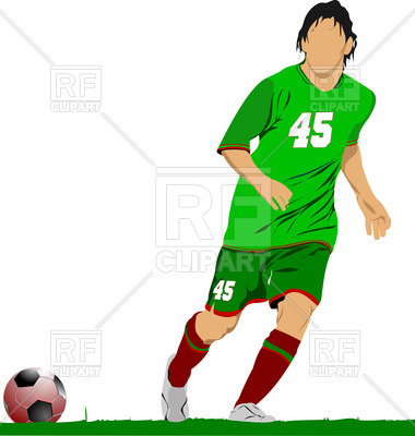 380x400 Silhouette Of Soccer Player In Motion On Field Royalty Free Vector
