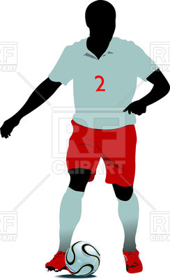244x400 Silhouette Of Soccer Players In Action Royalty Free Vector Clip