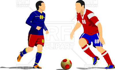 400x245 Silhouette Of Soccer Players With Ball In Action Royalty Free