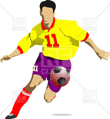370x400 Soccer Player In Motion Royalty Free Vector Clip Art Image