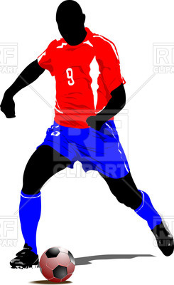 245x400 Soccer Player Silhouette Royalty Free Vector Clip Art Image