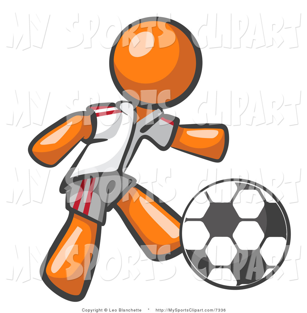 1024x1044 Sports Clip Art Of A Orange Soccer Player By Leo Blanchette