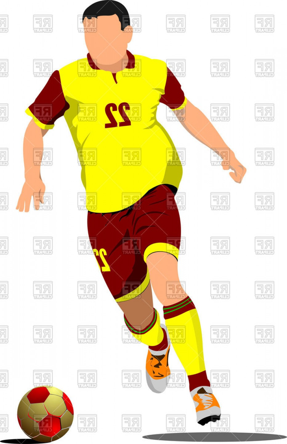932x1440 Yellow Red Silhouette Of Soccer Player With Football Ball Vector