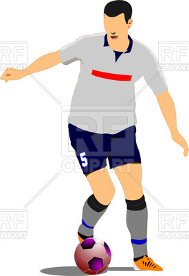 275x400 Colorful Silhouette Of Soccer Player With Football Ball Royalty