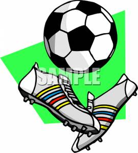 270x300 A Pair Of Cleats With A Soccer Ball Clipart Picture