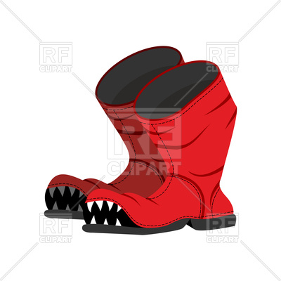 400x400 Broken Boot With Teeth, Old Shoes With Hole Royalty Free Vector
