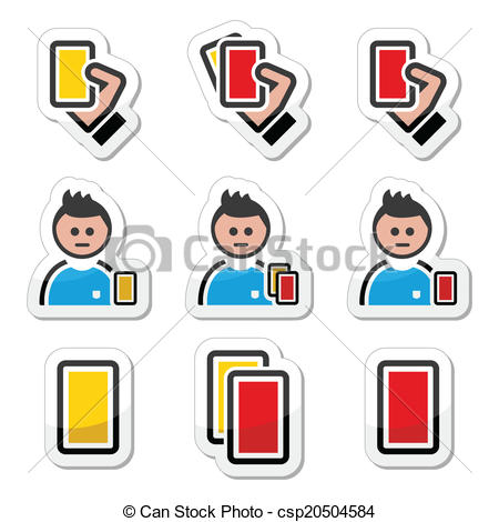 450x470 Football Or Soccer Yellow, Red Card. Football Or Soccer Vector