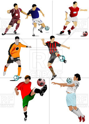 287x400 Soccer Players In The Motion Royalty Free Vector Clip Art Image