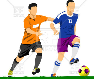 400x337 Soccer Players Poster Royalty Free Vector Clip Art Image
