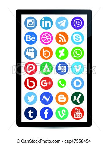 353x470 Social Media Icon Collection With Mobile Clipart Vector