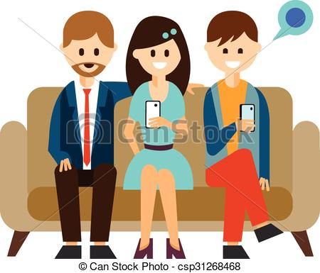 450x385 Young People Communicating In Social Media Vector Clip Art
