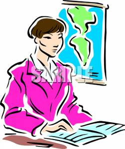 251x300 A Colorful Cartoon Of A Social Studies Teacher Sitting At Her Desk