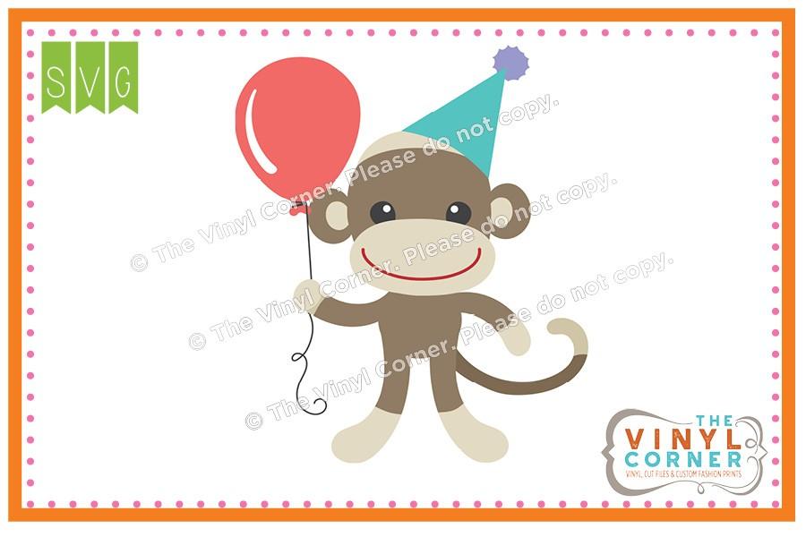 900x600 Applique Corner Sock Monkey Birthday Cuttable Svg Clipart Design