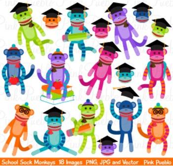 350x335 Back To School Sock Monkey Clipart Clip Art By Pinkpueblo Tpt