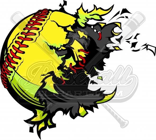 590x533 Exploding Softball Clipart. Destroyed Softball Ball Vector Image.