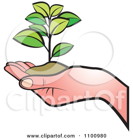 450x470 Clipart Hand Holding A Plant In Soil