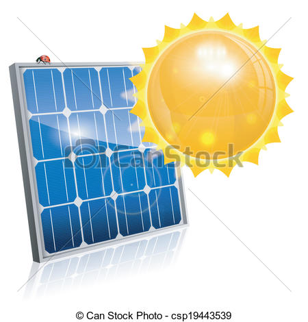 450x470 Green Energy Concept With Solar Panel And Sun, Vector Vectors