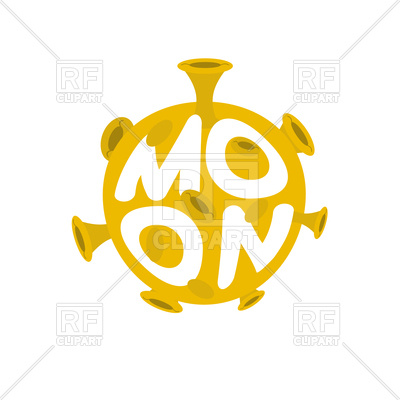 400x400 Moon Lettering. Yellow Planet Of Solar System Icon. Royalty Free