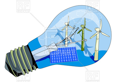 400x283 Solar Panel And Windmill In Abstract Lamp Royalty Free Vector Clip