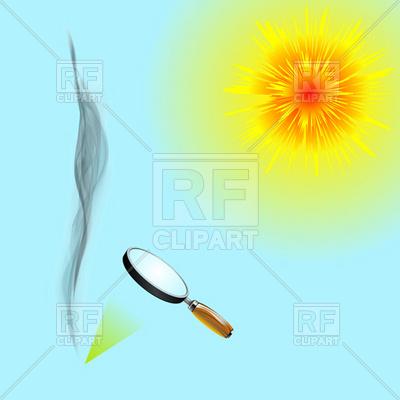 400x400 Solar Power Burns Through Loupe Royalty Free Vector Clip Art Image