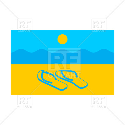 400x400 Summer Flag. Symbol Of Solar State. Beach And Slippers. Royalty