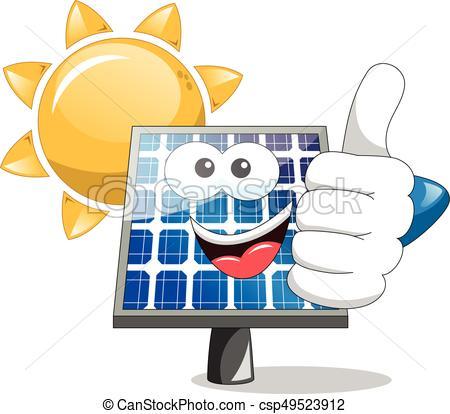 450x414 Sun Solar Panel Thumb Up. Sun And Solar Panel Thumb Up Vector