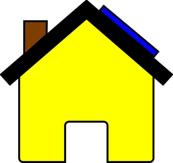 600x565 Yellow House And Solar Panel Clip Art