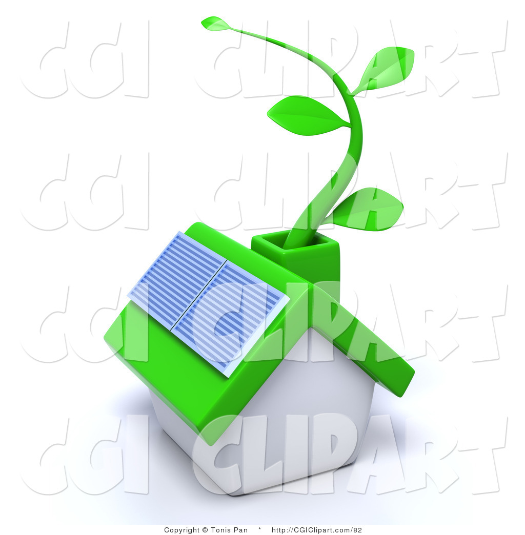 1024x1044 Clip Art Of A 3d Green Eco Friendly Home With A Solar Panel
