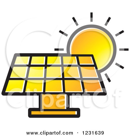 450x470 Clipart Of A Sun Over An Orange Solar Panel Icon