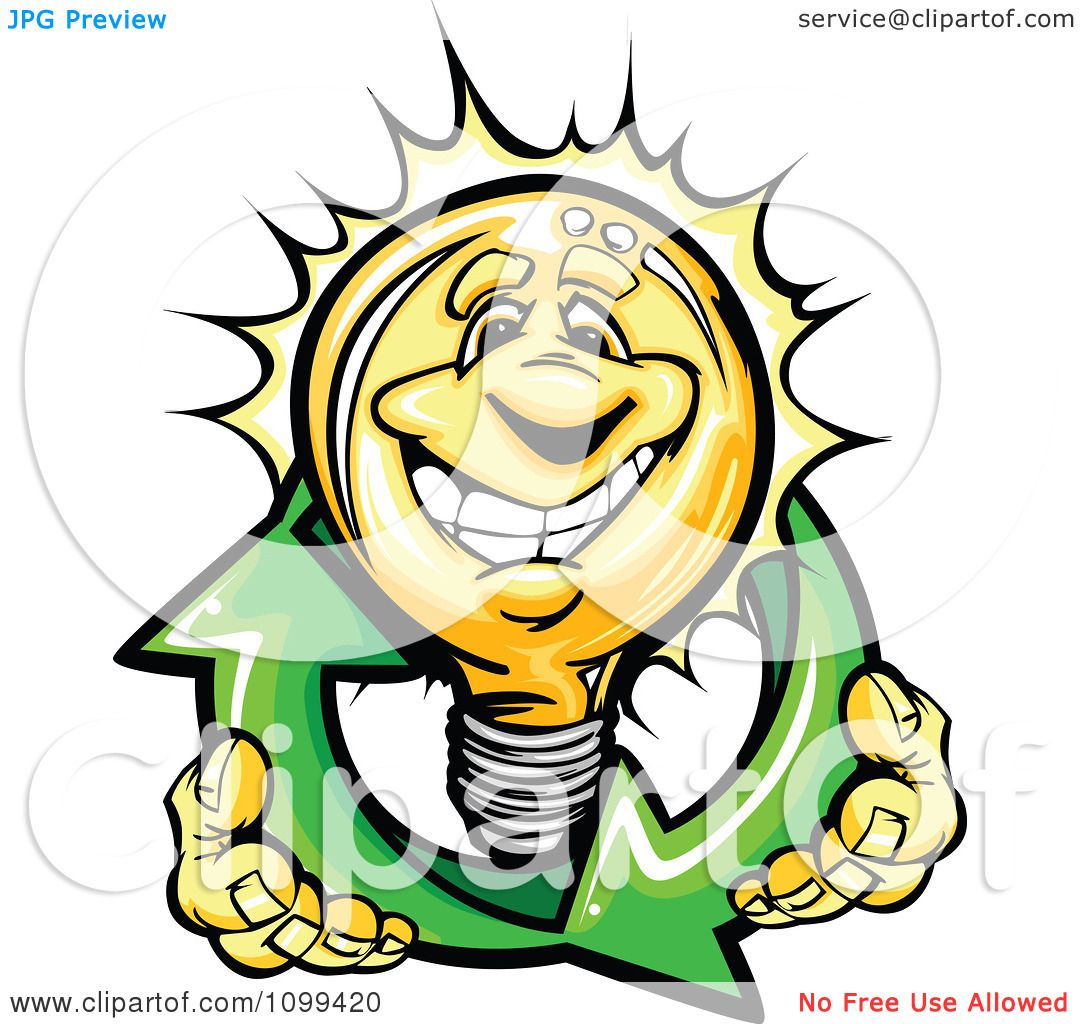 1080x1024 Clipart Happy Yellow Light Bulb Mascot Holding Renewable Solar