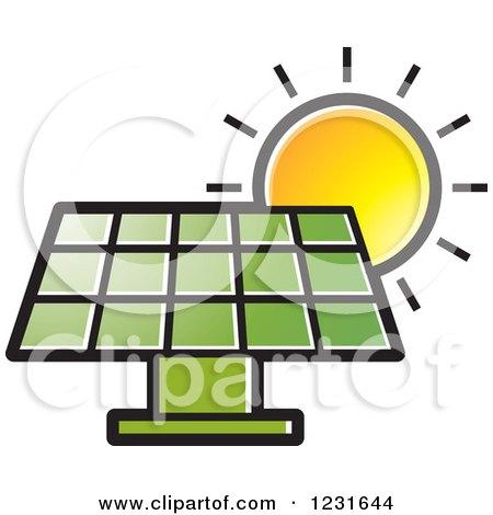 450x470 Clipart Of A Sun Over A Green Solar Panel Icon