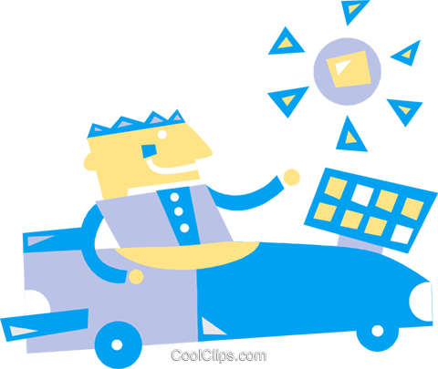480x405 Man Driving Solar Powered Car Royalty Free Vector Clip Art