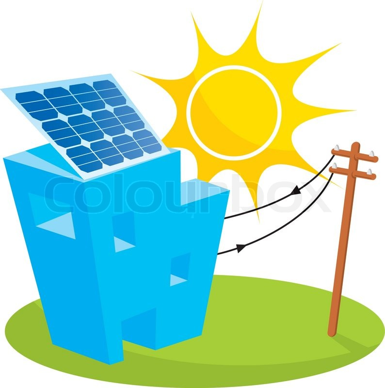 794x800 Solar Panel On House Roof Connected To Electricity Pole Stock
