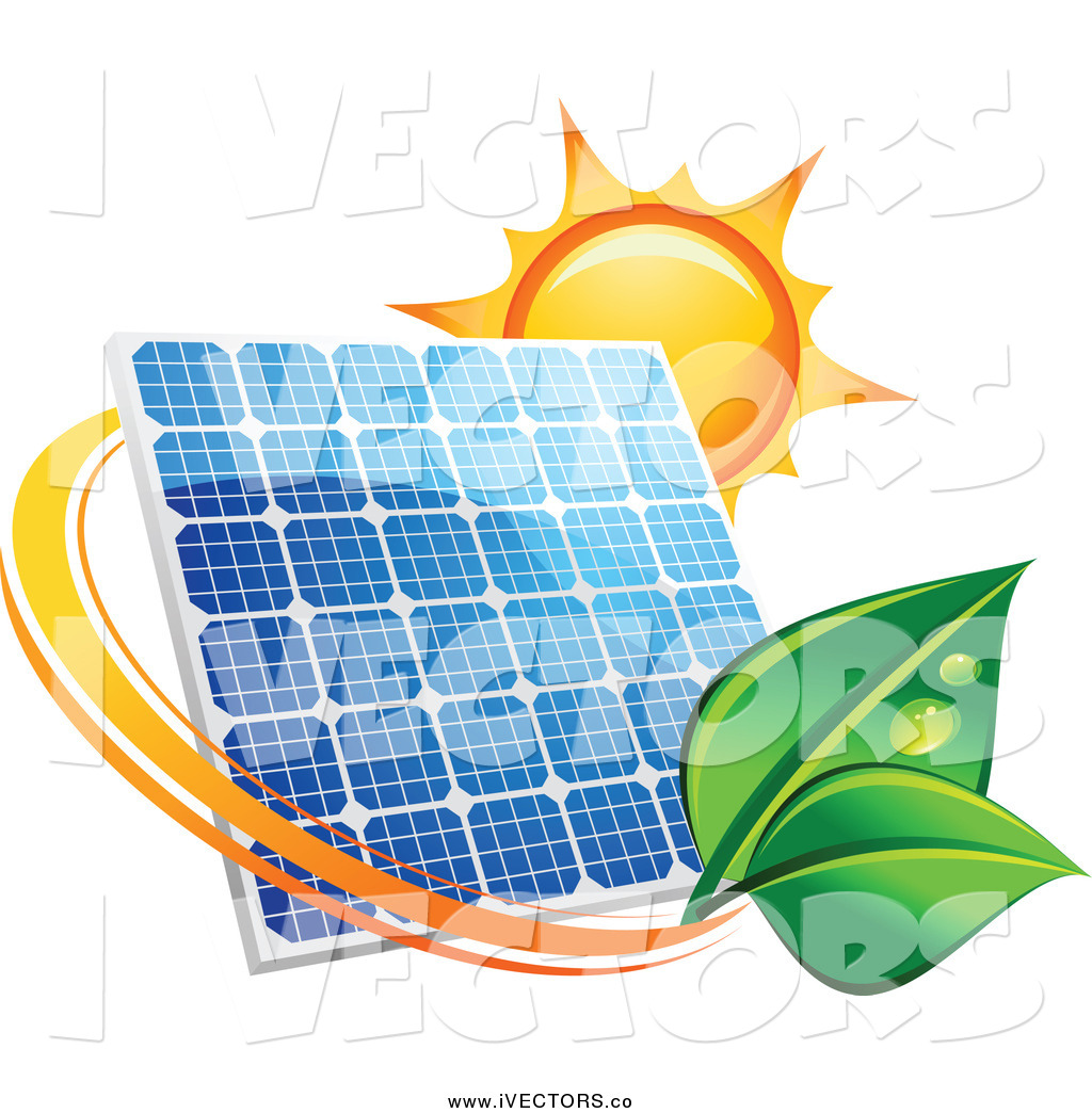 1024x1044 Vector Graphic Of A Sun And A Solar Panel With A Green Leaf By