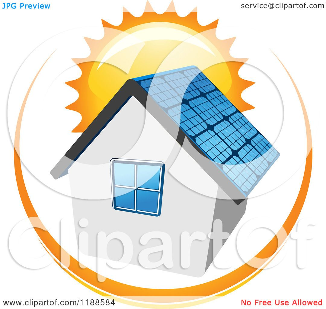 1080x1024 Free Clipart Of House With Solar