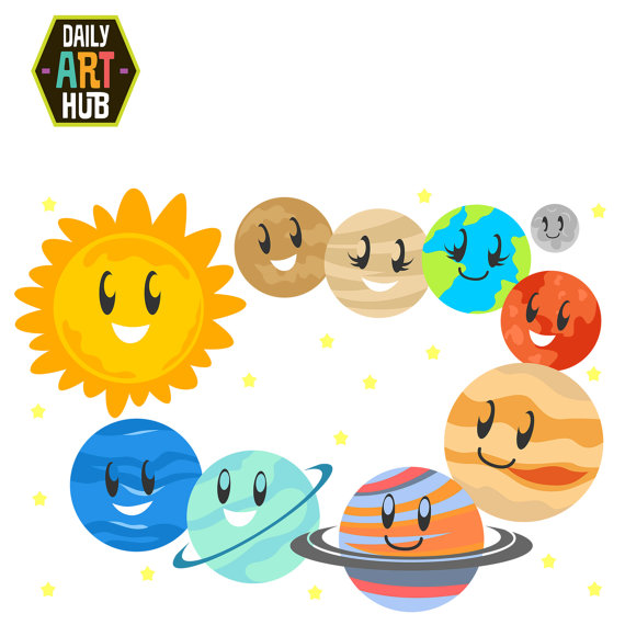 570x570 Items Similar To Cute Planets Clip Art, Solar System Clip Art