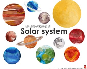 340x270 Watercolor Planets Clip Art Set Solar System Science Clip