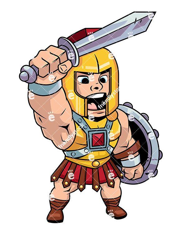 585x755 Roman Centurion Shouting A Battle Cry Vector Cartoon Clipart