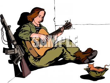 350x266 Royalty Free Clip Art Image Female Soldier Playing A Guitar