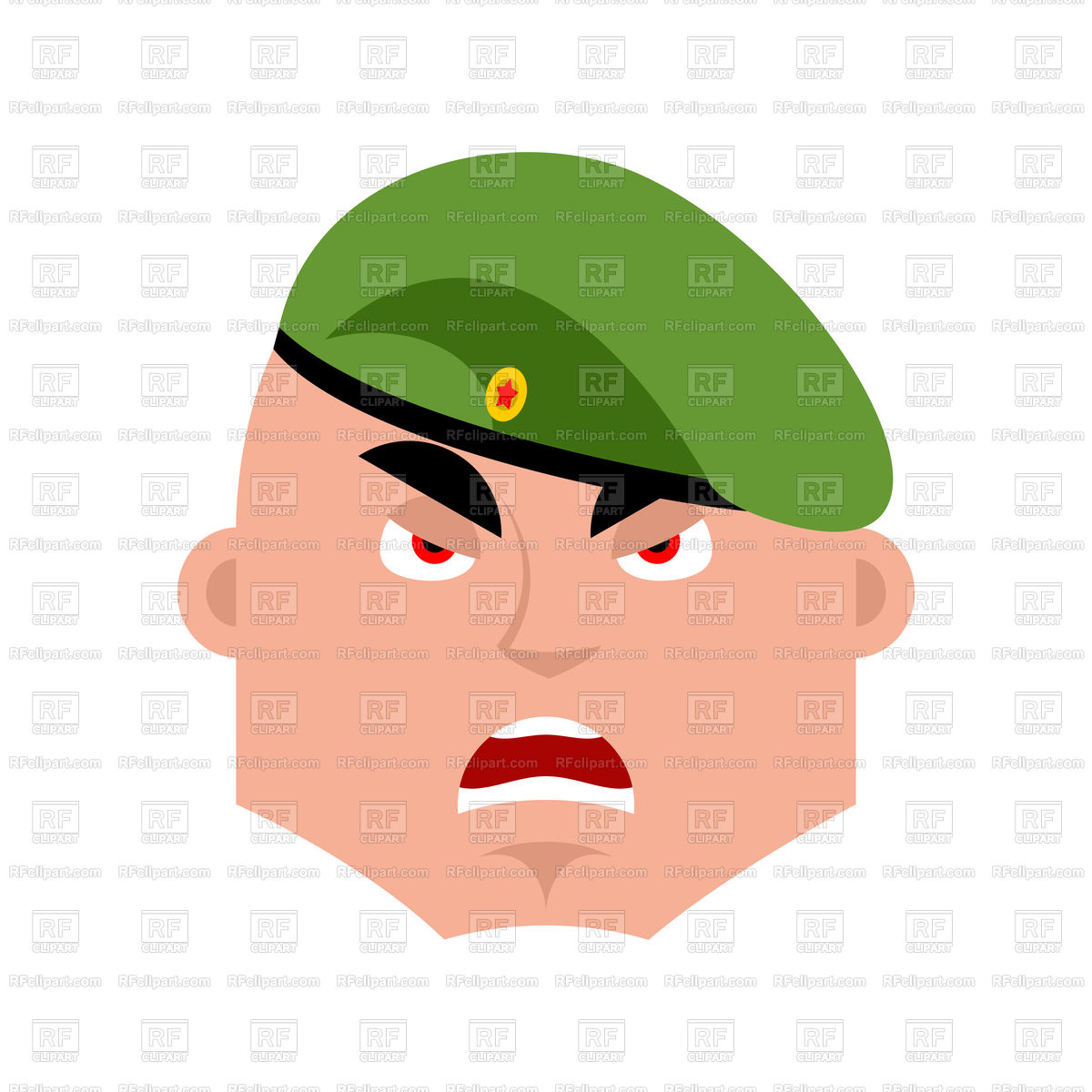 1200x1200 Russian Soldier Angry Emoji Royalty Free Vector Clip Art Image