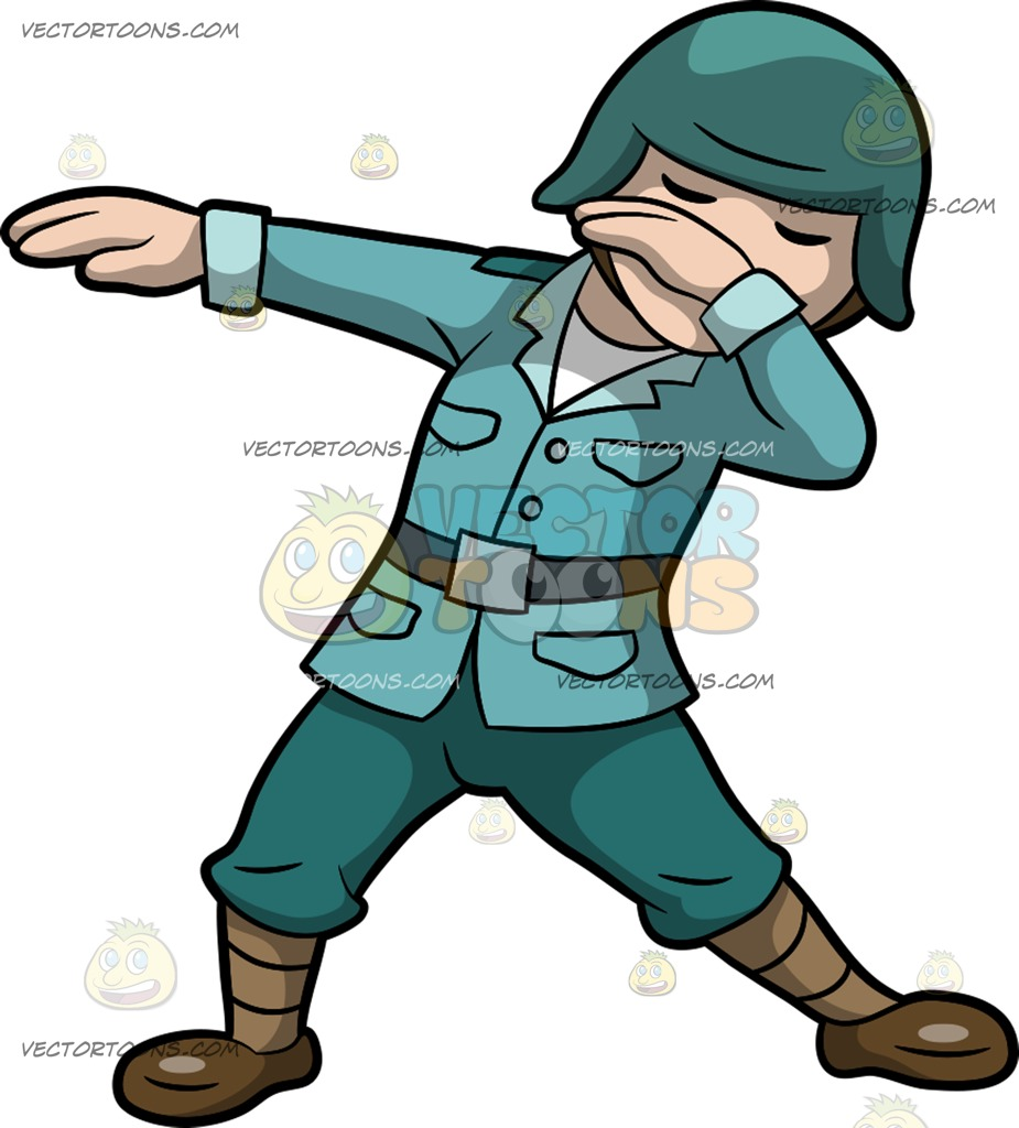 925x1024 A Dabbing Soldier Cartoon Clipart Vector Toons